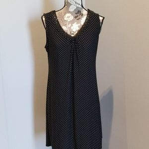 Black White Polka Dot Stretchy Soft Gown Pajamas